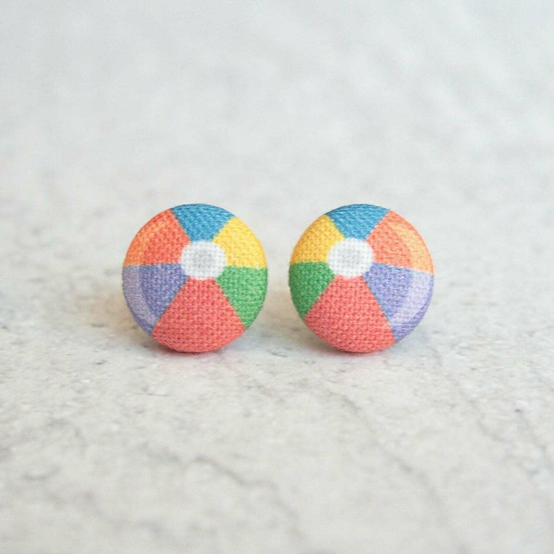 Earrings - Beach Ball Fabric Button