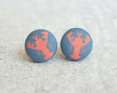 Earrings - Lobster Fabric Button