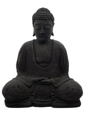 Volcanic Stone Buddha Incense Holder Black
