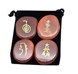 Carnelian Engraved Reiki Stones, Reiki Healing Crystal with Reiki Symbols