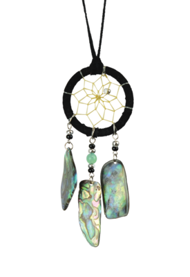 Brown Dream Catcher detailed with paua shell dangles
