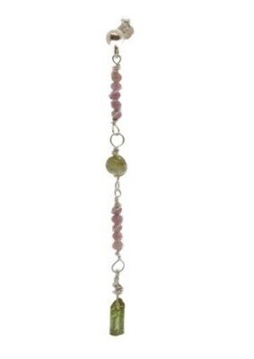 Pink/Green Tourmaline and Sterling Silver Earrings