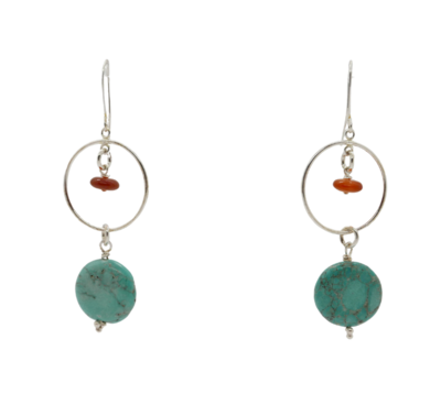 Carnelian,Turquoise and Sterling Silver Earrings