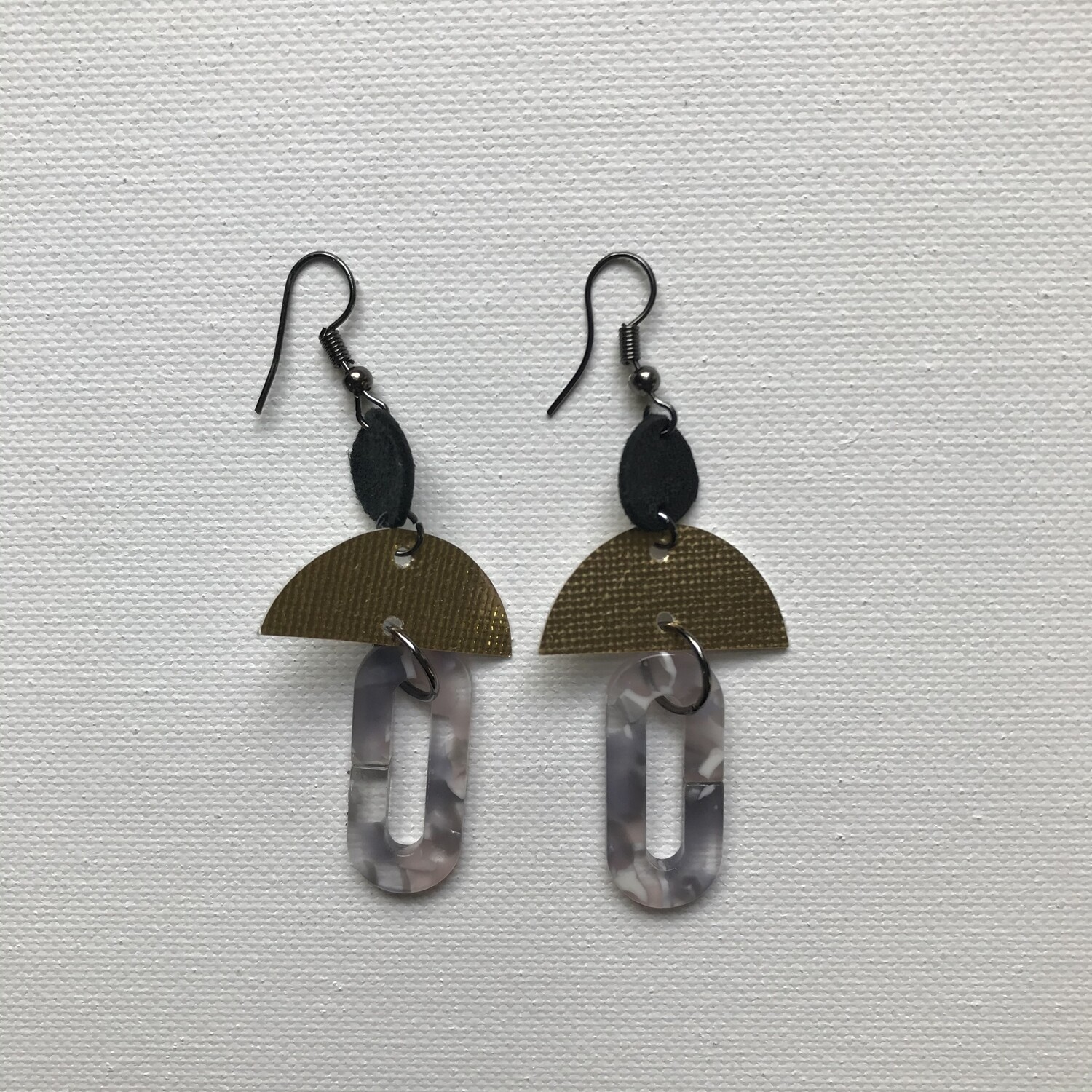 Acrylic + Gold Drop Earring