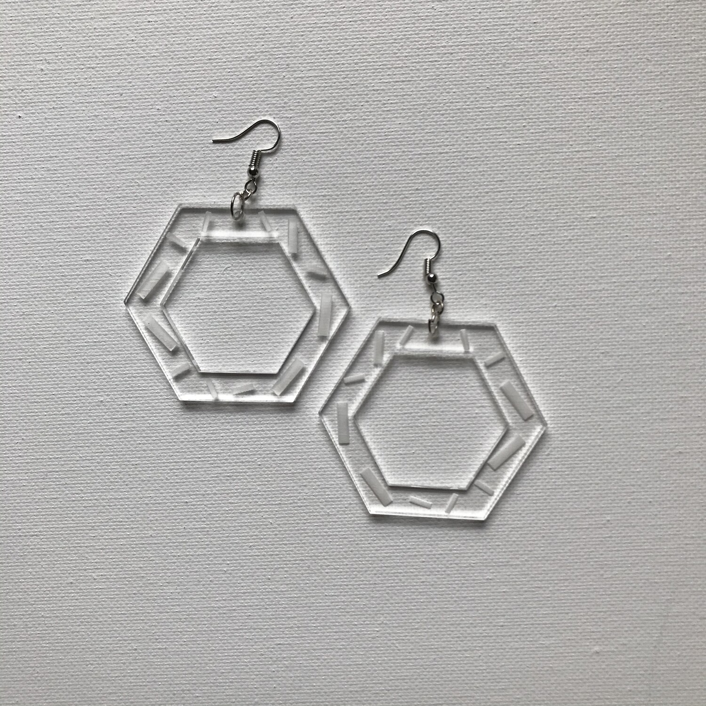 Acrylic Hex Drop Earring