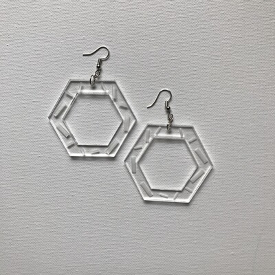 Acrylic Hex Drop Earring