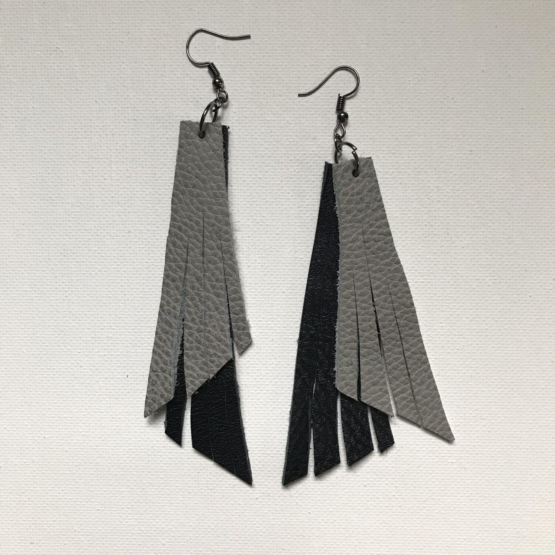 Black + Grey Fringe Earring