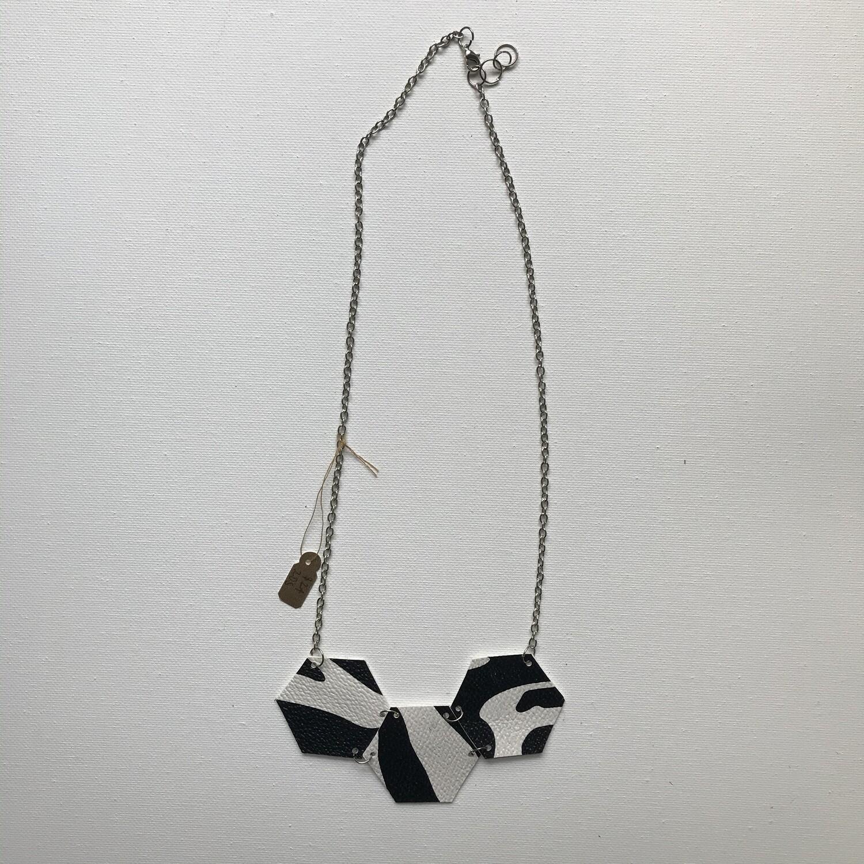 Zebra Faux Leather Necklace