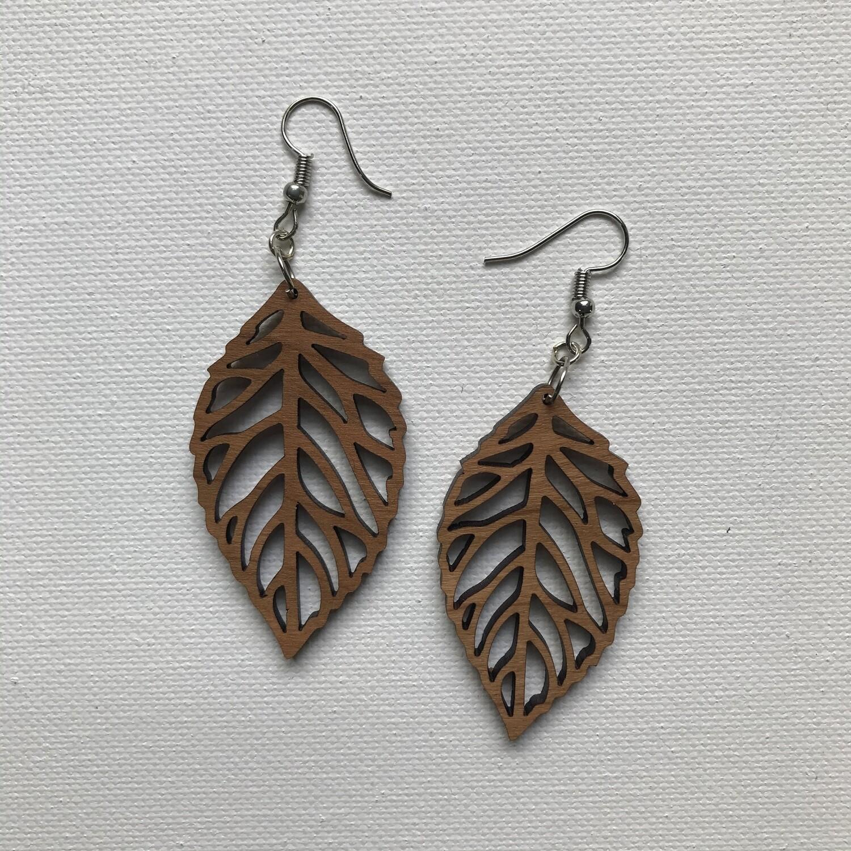 Wood Cut Leaf Earring