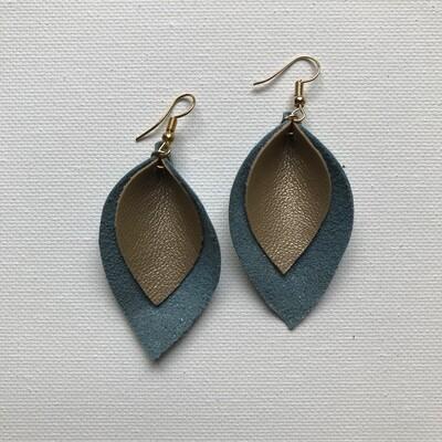 Teal + Gold Leaf Earring