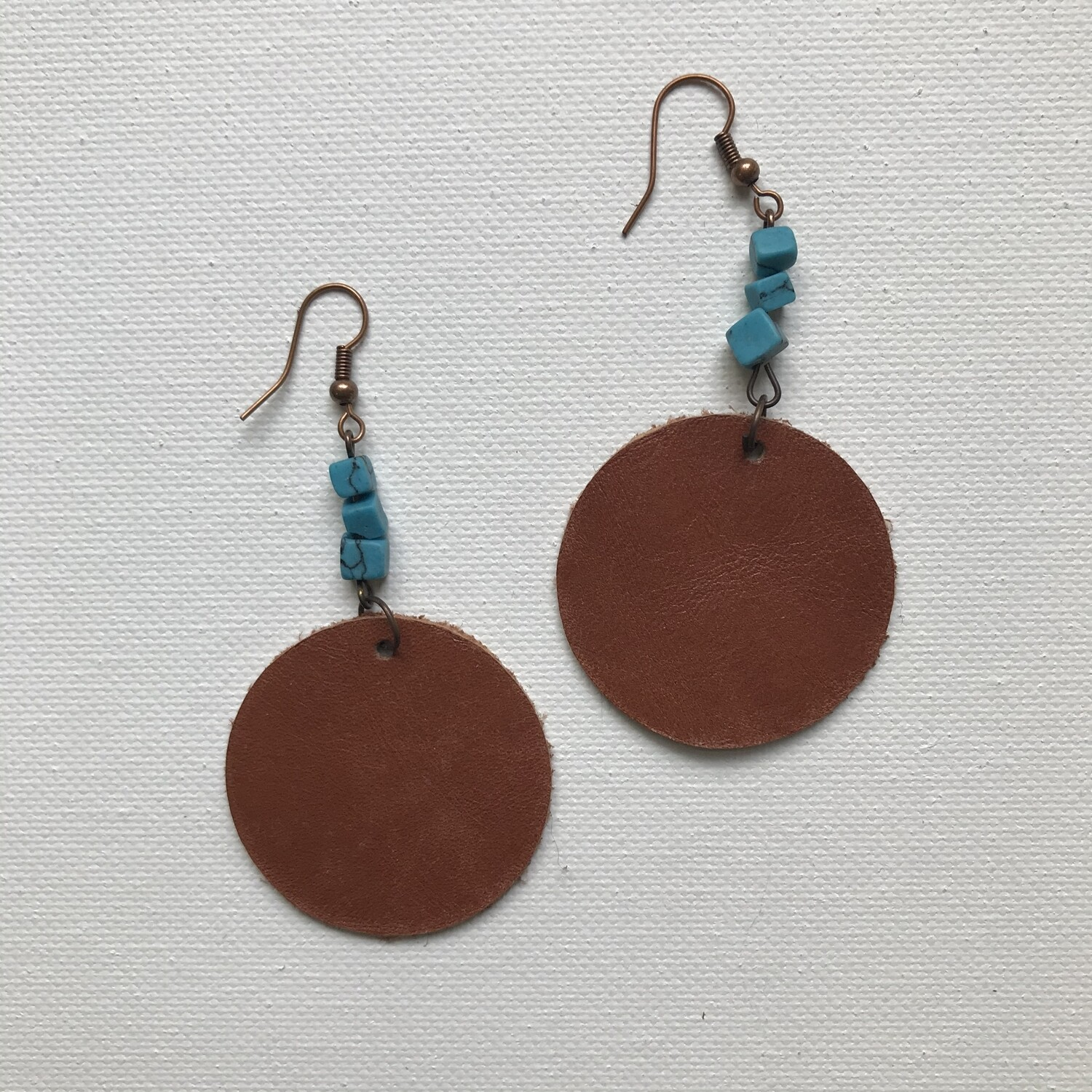 Leather + Bead Earring