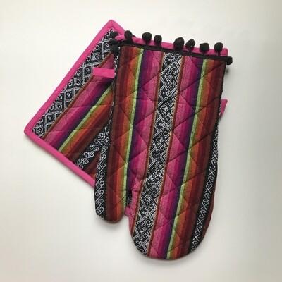 Textile Oven Mitt - Purple + Pink