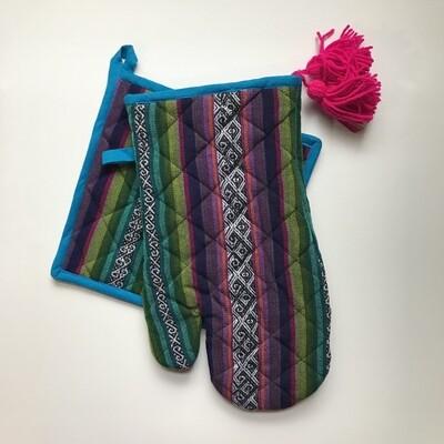 Textile Oven Mitt - Purple + Blue
