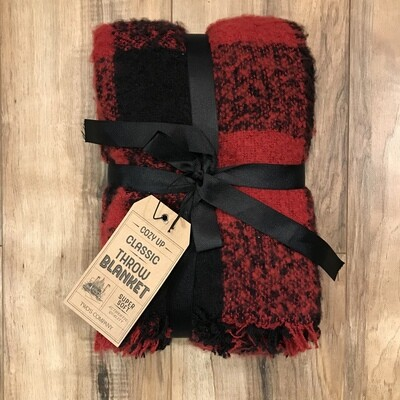 Black + Red Plaid Blanket