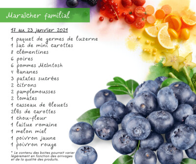 Fruits et légumes Vendredi 22 janvier