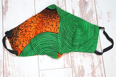 Orange And Green Ankara Cloth Masks - Nigeria 🇳🇬