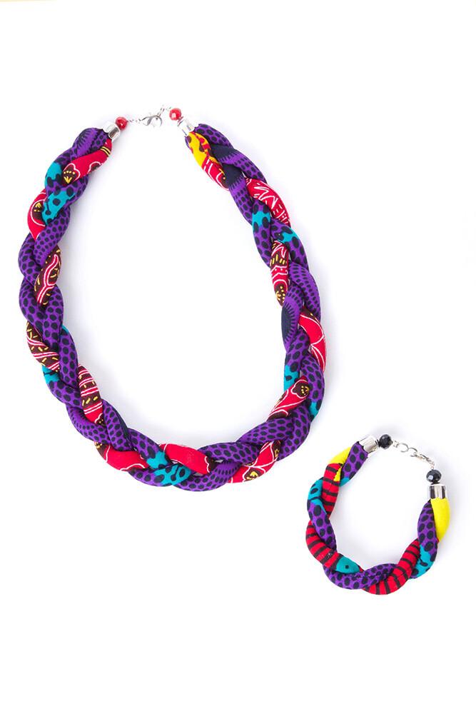 Ankara Braided Necklace and Bracelet Set  - Ghana  🇬🇭