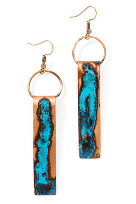 Handcrafted Copper Viridian Emblem Earrings  - Zambia 🇿🇲