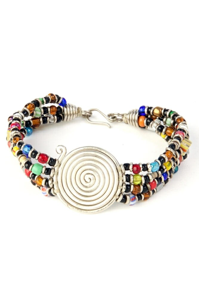 Rainbow Beaded Bracelet with Silver Coil -  Kenya 🇰🇪