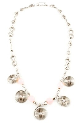 Swahili Spiral Necklace with Pink Beads - Kenya 🇰🇪