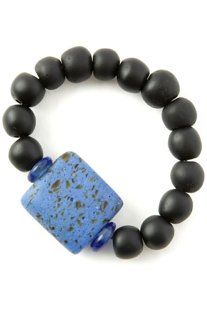 Ghanaian 🇬🇭 Recycled Glass Plank Bead Bracelet in Blue and Black