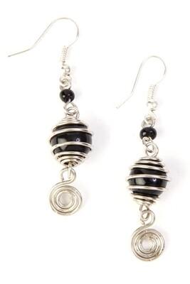 Kenyan Encircled Wire and Black Bead Earrings - Kenya 🇰🇪