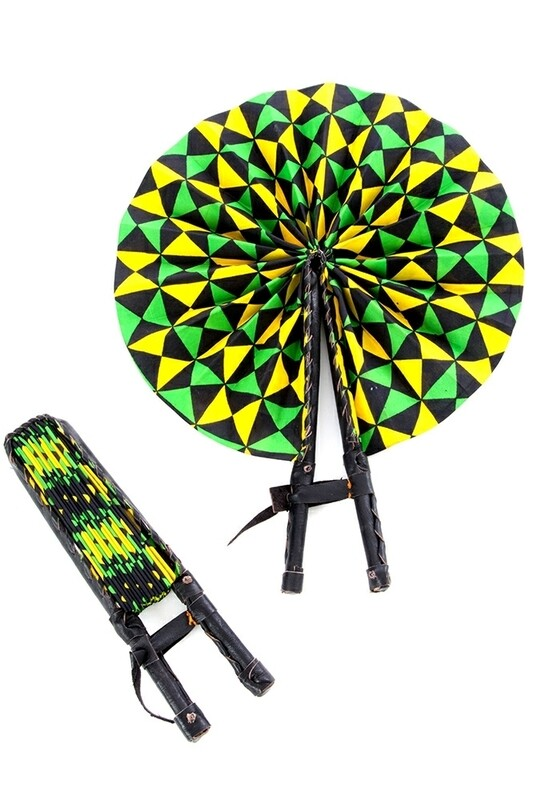African-inspired Hand Fan with Black Leather Handles 🇬🇭
