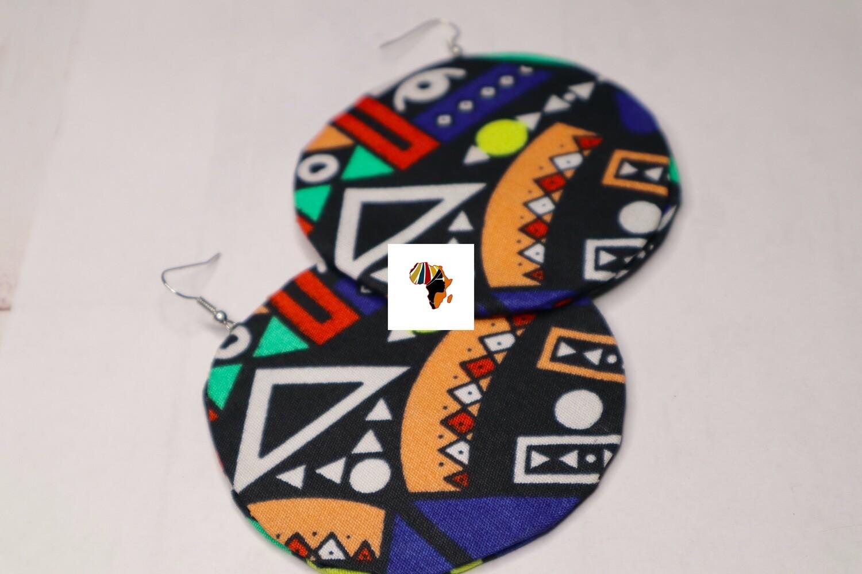 Ankara Print Fabric (Round) Statement Earrings  - Nigeria 🇳🇬