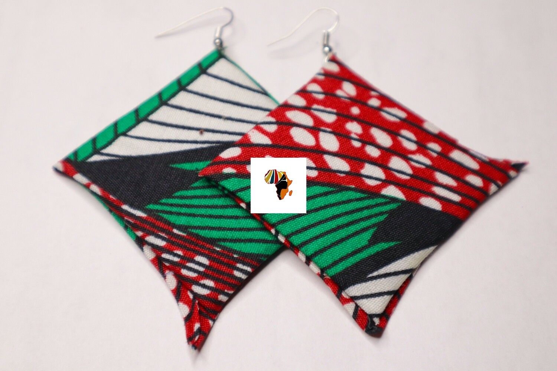 Ankara Print Fabric (Star-shaped) Statement Earrings  - Nigeria 🇳🇬
