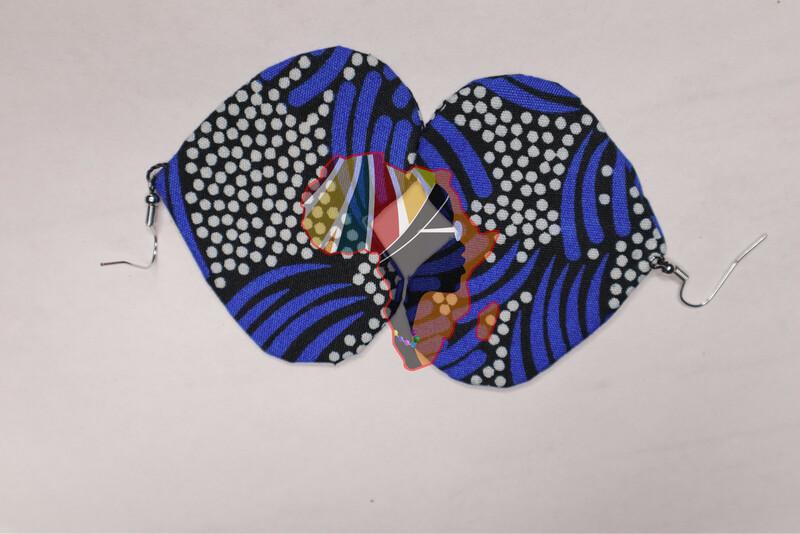 Ankara Print Fabric (Heart-Shaped) Statement Earrings  - Nigeria 🇳🇬