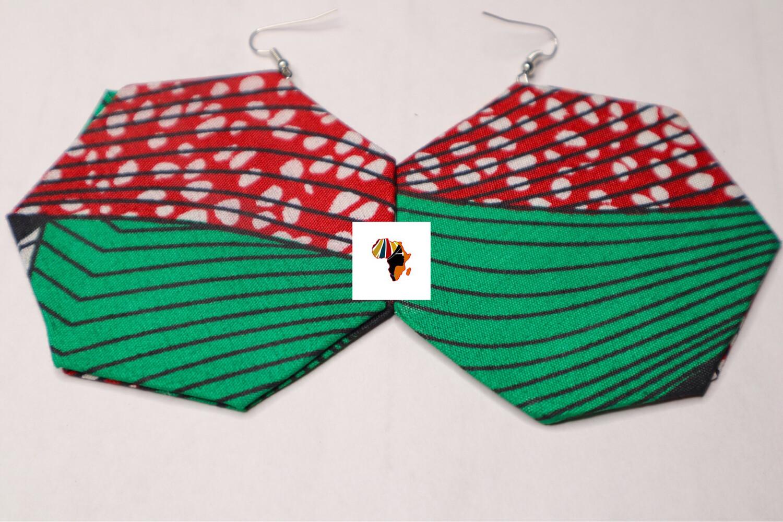 Ankara Print Fabric (Heptagon-Shaped) Statement Earrings  -  Nigeria 🇳🇬