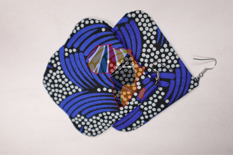 Ankara Print Fabric (Five-sided Shaped) Statement Earrings  - Nigeria 🇳🇬