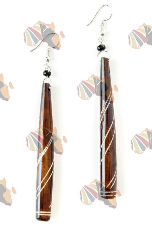 Kenyan Cow Bone Pinstripe Earrings  🇰🇪