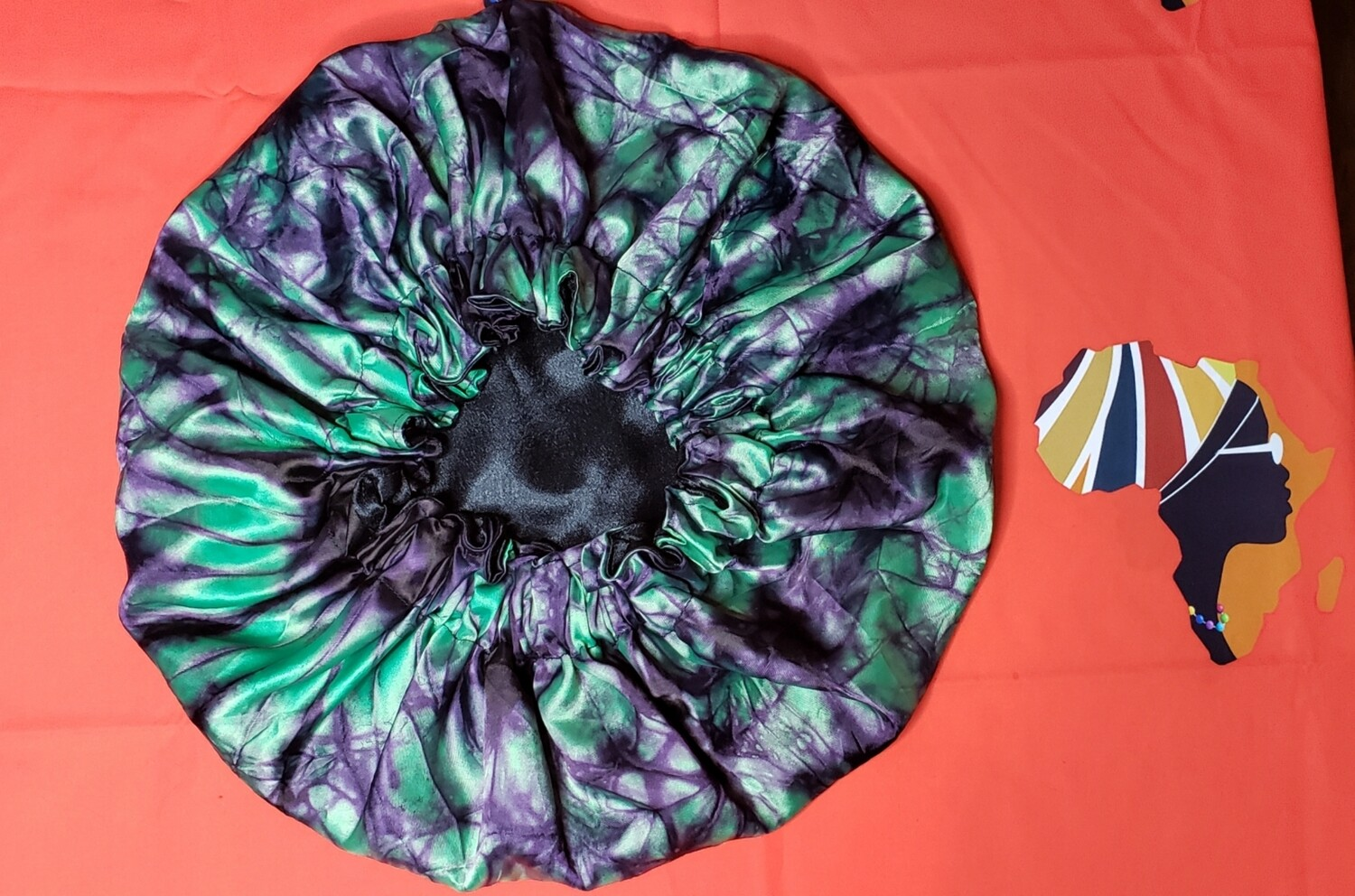 Adire (African-inspired) Reversible Fabric Bonnet With  Elastic