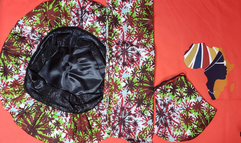 3-piece Head wrap, Bonnet, Face mask Combo