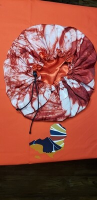 Adire (African-inspired) Reversible Fabric Bonnet With Drawstring