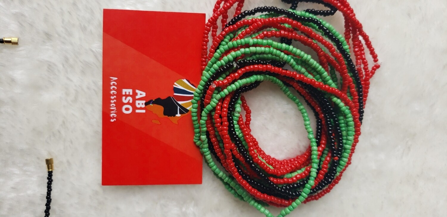 Red, Green, & Black Bracelet/Ankle Beads by strand