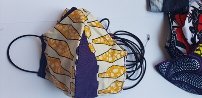 Purple and Mustard Yellow Pattern Face Covering