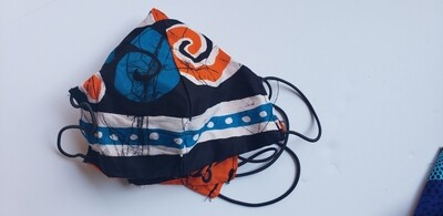Deep Orange, Teal, White and Black Face Covering