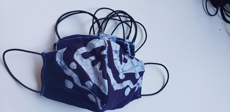 Deep Blue Mix Batik Face Covering