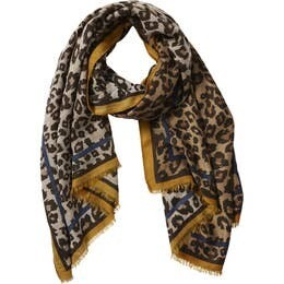 Camel Deb Leopard Scarf