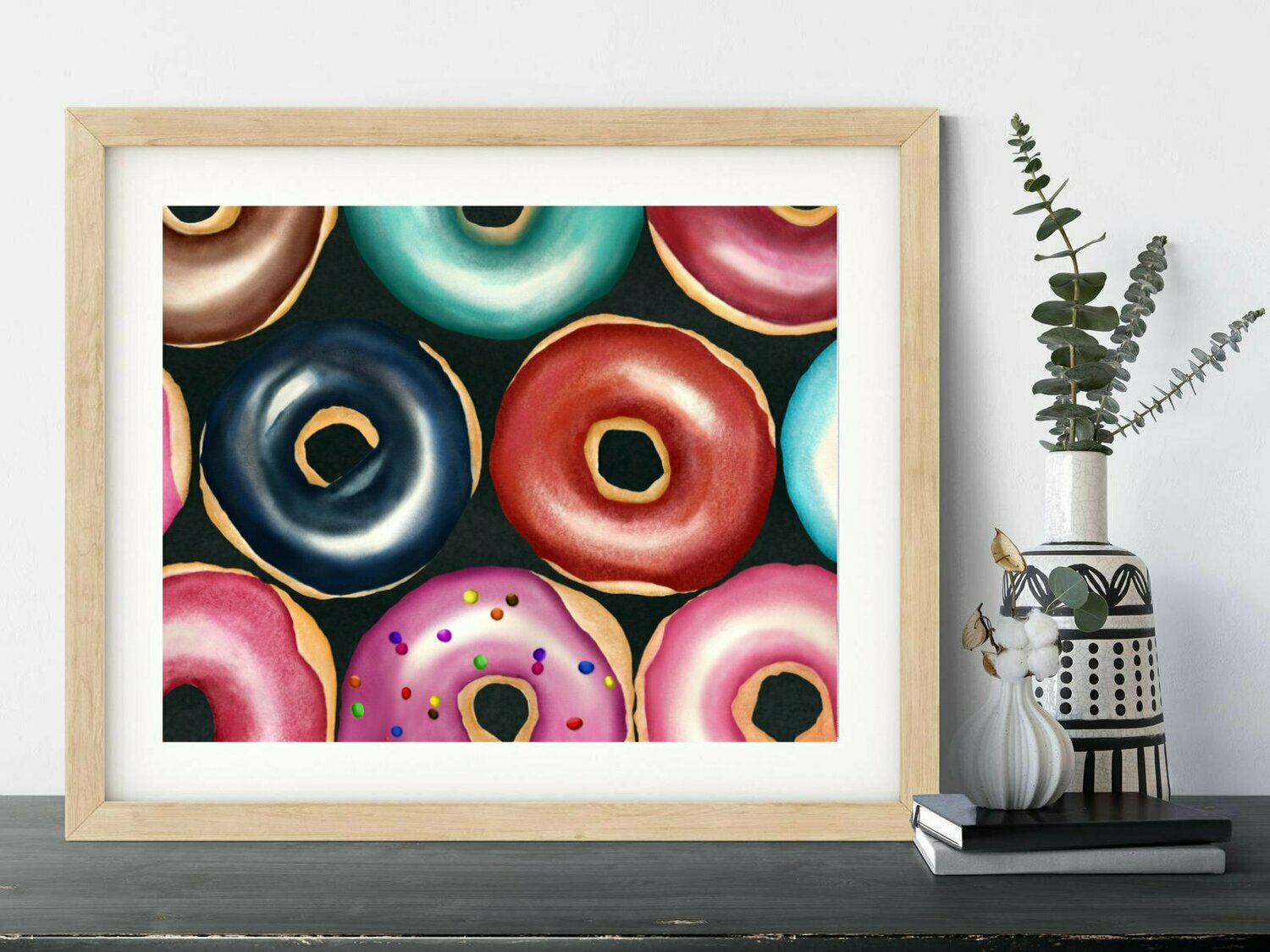 Donuts Watercolor Painting, Food Painting , Kitchen Art