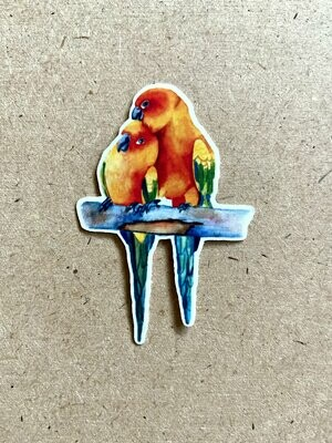 Love Bird Stickers Sun Conures - Glossy Vinyl Sticker
