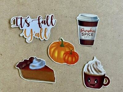 Fall Stickers - Autumn stickers - Pumpkin spice latte sticker  - Pumpkin Stickers, Fall Stickers Pack, Fall Sticker Sets