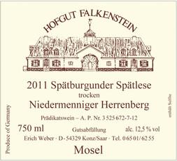 Hofgut Falkenstein Niedermenniger-Herrenberg Spätburgunder (Pinot Noir) Spätlese Trocken 2017