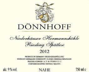 Donnhoff Niederhäuser Hermannshöhle Riesling Spätlese 2016