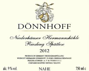 Donnhoff Niederhäuser Hermannshöhle Riesling Spätlese 2017