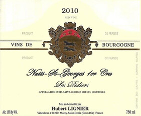 """Lignier Nuits-Saint-Georges 1er Cru Les Didiers """"Les Didiers"""" 2011"""