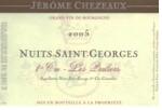 Jerome Chezeaux Nuits Saint Georges 1er Cru Les Pruliers 2011
