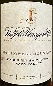 La Jota Howell Mountain Merlot 2016
